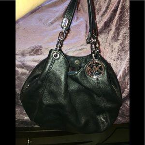 Michael Kors Leather Hobo Bag - silver hardware